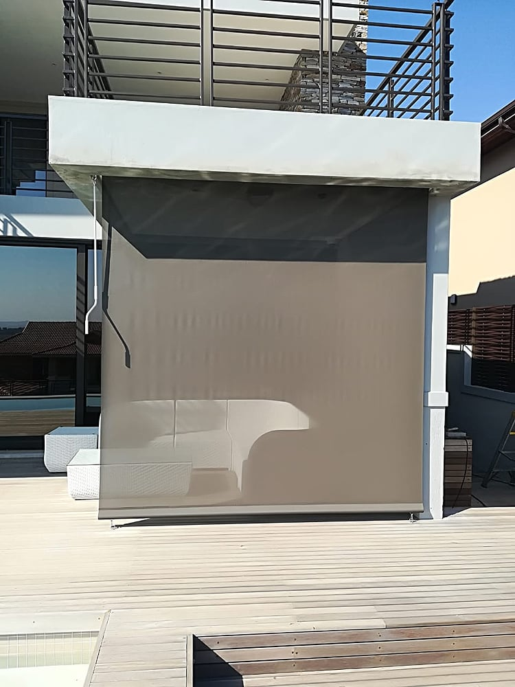 Crank Blind - shade & protection for this stylish wooden decked patio