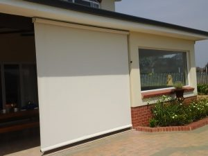 Patio with a Crank Blind in the fully lowered position - outside view