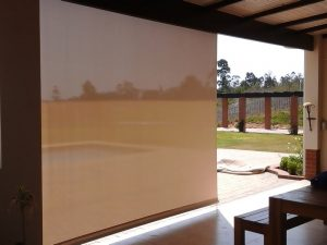 Patio with a Crank Blind in the fully lowered position - inside view
