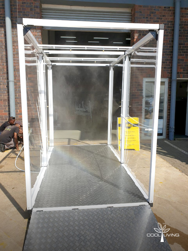 The Sanitisation Spray TunnelTransparent Side Panels - Straight View