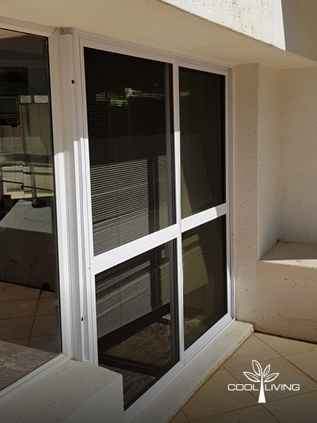 Double door Insect and Monkey Screen with mesh double sliding door closed