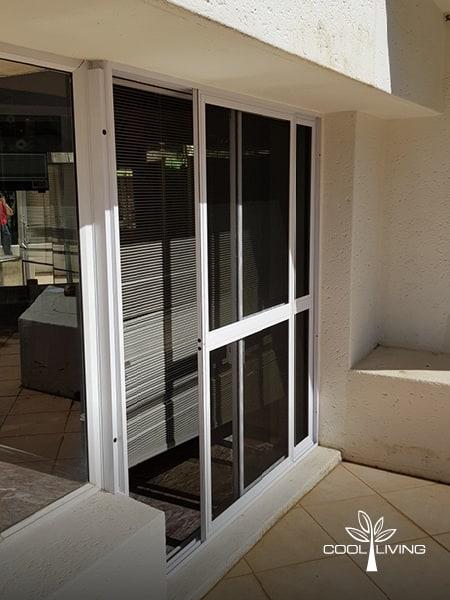 Double door Insect and Monkey Screen with mesh double sliding door open