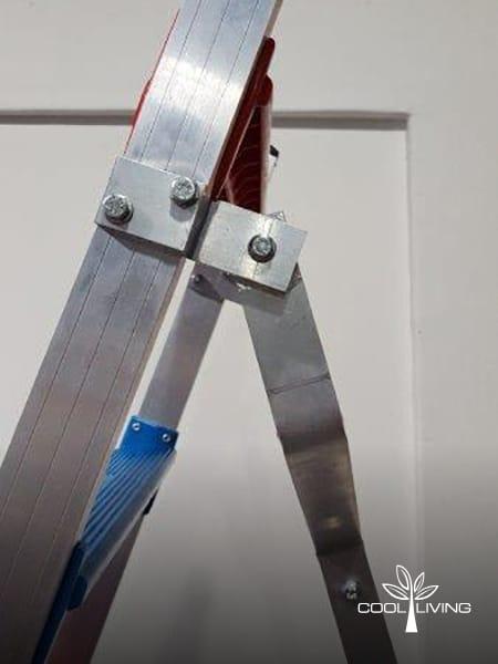 Ladder close up side view of oversized back pole bracket