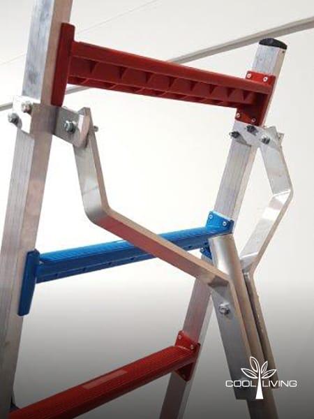 Ladder side view oversized back pole bracket