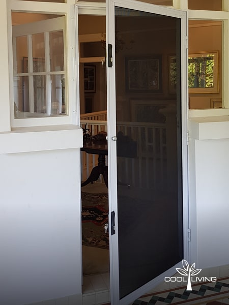 Side hinged Security and Baboon Screen door open viewed from outside